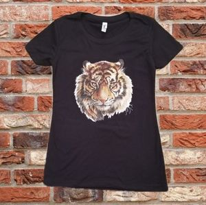 Tops - Orange Tiger Head Black Graphic Tee Shirt! Nice!